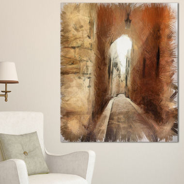 Designart Brown Old City Street Drawing LandscapeCanvas Wall Art