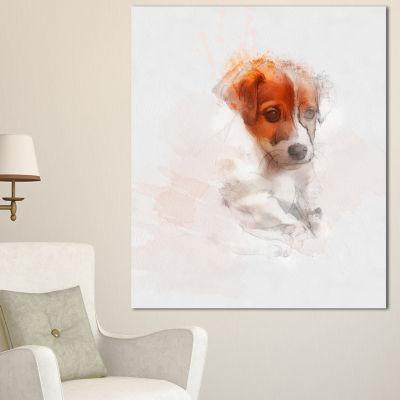 Designart Brown Puppy Dog Watercolor Oversized Animal Wall Art - 3 Panels