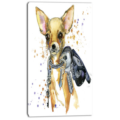 Designart Brown Toy Terrier Dog Watercolor Abstract Canvas Art Print