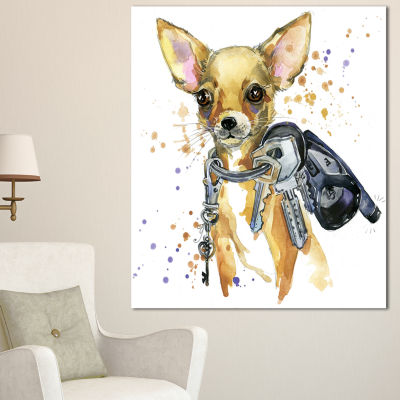 Designart Brown Toy Terrier Dog Watercolor Abstract Canvas Art Print - 3 Panels