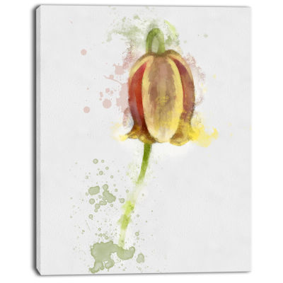 Designart Brown Tulip Sketch Watercolor Floral Canvas Art Print