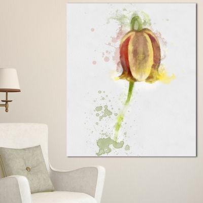 Design Art Brown Tulip Sketch Watercolor Floral Canvas Art Print - 3 Panels
