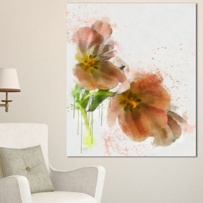 Designart Brown Tulips Sketch Watercolor Floral Canvas Art Print - 3 Panels