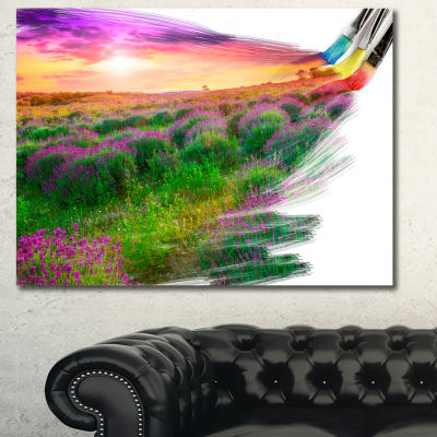 Designart Brushes Painting The Nature Landscape Canvas Art Print - 3 Panels