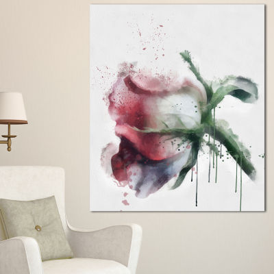 Designart Budding Pink Rose Watercolor Sketch Flowers Canvas Wall Artwork