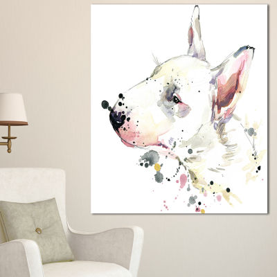 Design Art Bull Terrier Dog Watercolor Animal Canvas Wall Art - 3 Panels