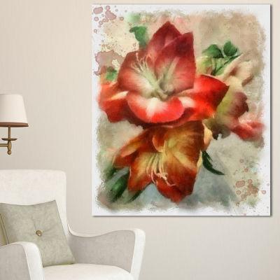 Designart Bunch Of Amaryllis Flowers Drawing Floral Canvas Art Print - 3 Panels