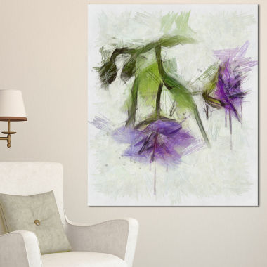 Designart Bunch Of Blue Flowers Watercolor FloralCanvas Art Print