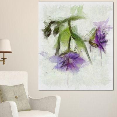 Designart Bunch Of Blue Flowers Watercolor FloralCanvas Art Print - 3 Panels