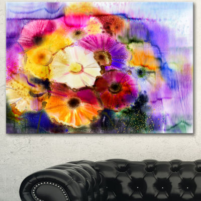 Designart Bunch Of Colored Daisy Flowers Large Floral Canvas Art Print - 3 Panels