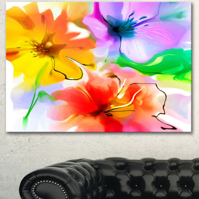 Designart Bunch Of Colorful Flowers Sketch ExtraLarge Floral Wall Art