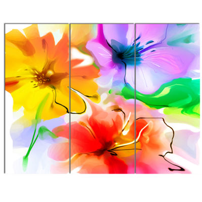 Designart Bunch Of Colorful Flowers Sketch ExtraLarge Floral Wall Art - 3 Panels