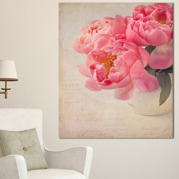 Designart Bunch Of Colorful Peony Flowers FloralCanvas Art Print