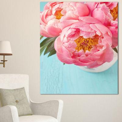 Designart Bunch Of Light Pink Peony Flowers FloralCanvas Art Print - 3 Panels
