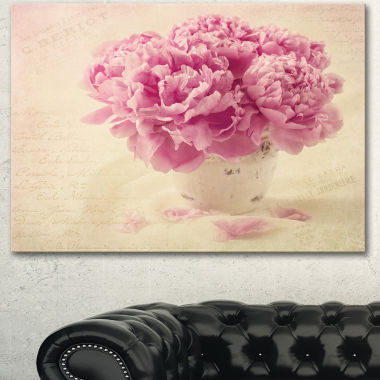 Design Art Bunch Of Peony Flowers On Table FloralCanvas Art Print