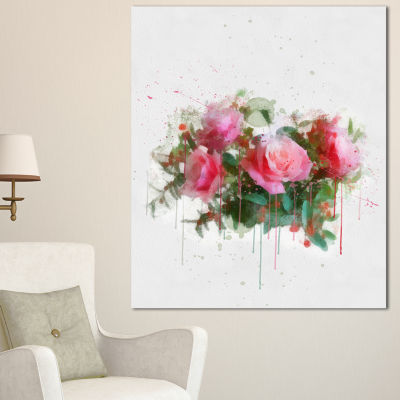 Design Art Bunch Of Pink Roses Watercolor Flower Artwork On Canvas - 3 Panels