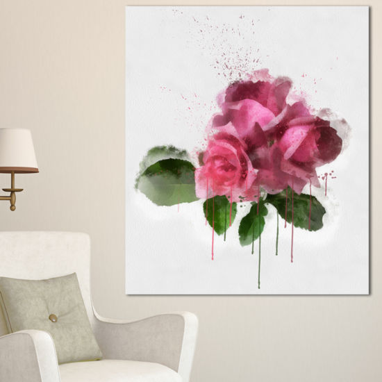 Designart Bunch Of Pink Roses With Leaves Large Floral Canvas Artwork