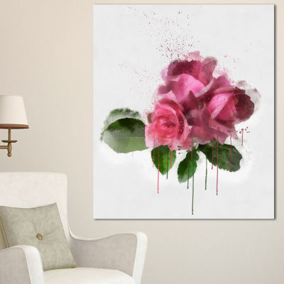 Design Art Bunch Of Pink Roses With Leaves Large Floral Canvas Artwork - 3 Panels