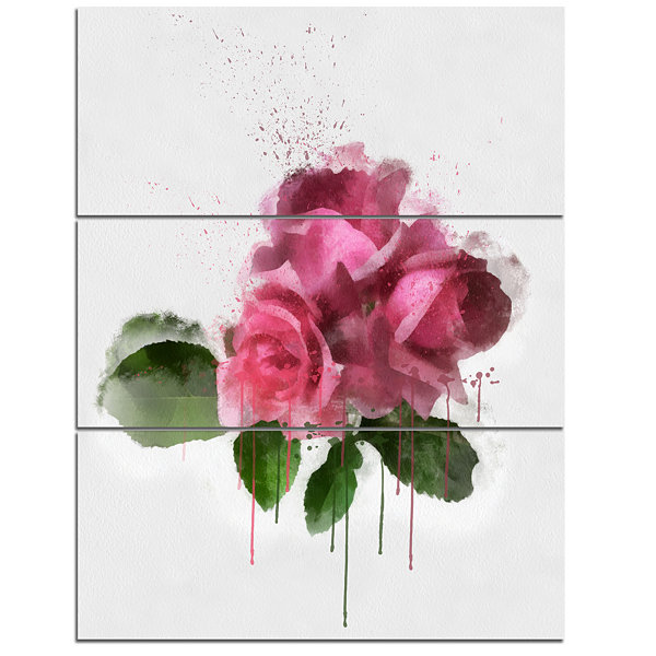 Designart Bunch Of Pink Roses With Leaves Large Floral Canvas Artwork - 3 Panels
