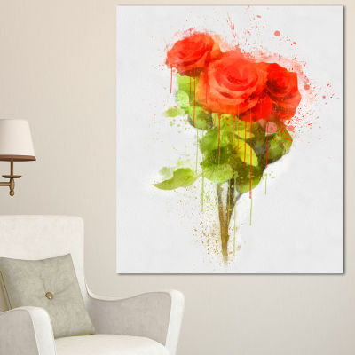 Design Art Bunch Of Red Roses Watercolor Flower Artwork On Canvas - 3 Panels