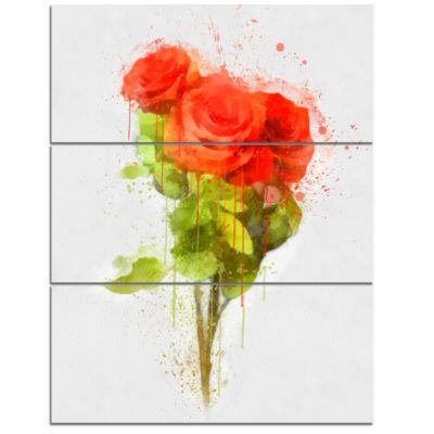 Designart Bunch Of Red Roses Watercolor Flower Artwork On Canvas - 3 Panels
