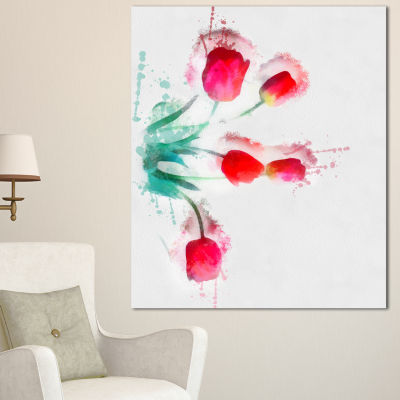 Designart Bunch Of Red Tulips Watercolor Floral Canvas Art Print - 3 Panels