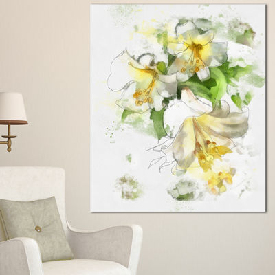 Designart Bunch Of Small Flowers Watercolor LargeFloral Canvas Artwork