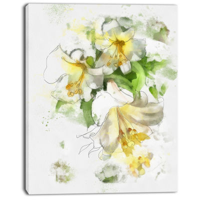 Design Art Bunch Of Small Flowers Watercolor LargeFloral Canvas Artwork