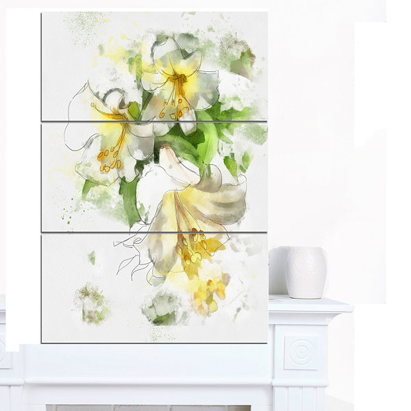 Designart Bunch Of Small Flowers Watercolor LargeFloral Canvas Artwork - 3 Panels