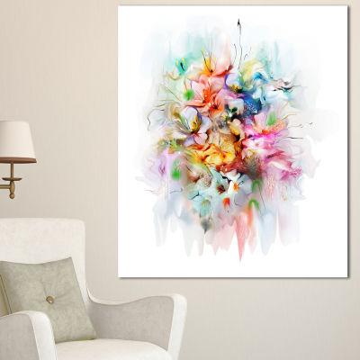 Designart Bunch Of Watercolor Flowers Floral Canvas Art Print - 3 Panels