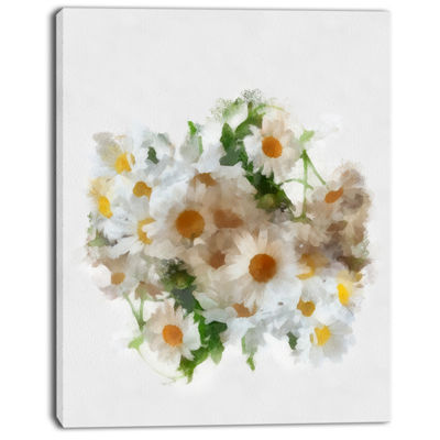 Designart Bunch Of White Chamomiles Watercolor Flower Artwork On Canvas