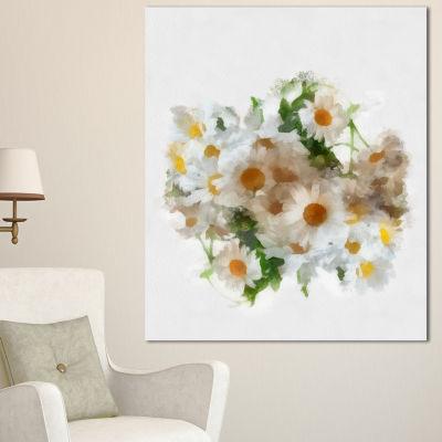 Designart Bunch Of White Chamomiles Watercolor Flower Artwork On Canvas