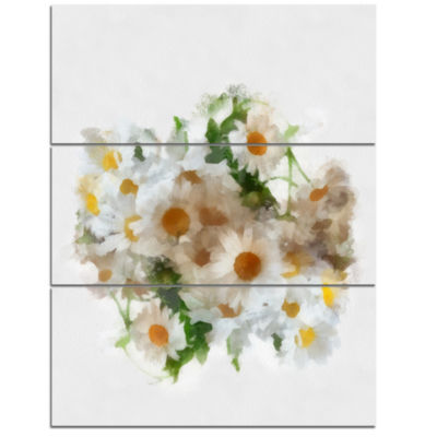 Design Art Bunch Of White Chamomiles Watercolor Flower Artwork On Canvas - 3 Panels