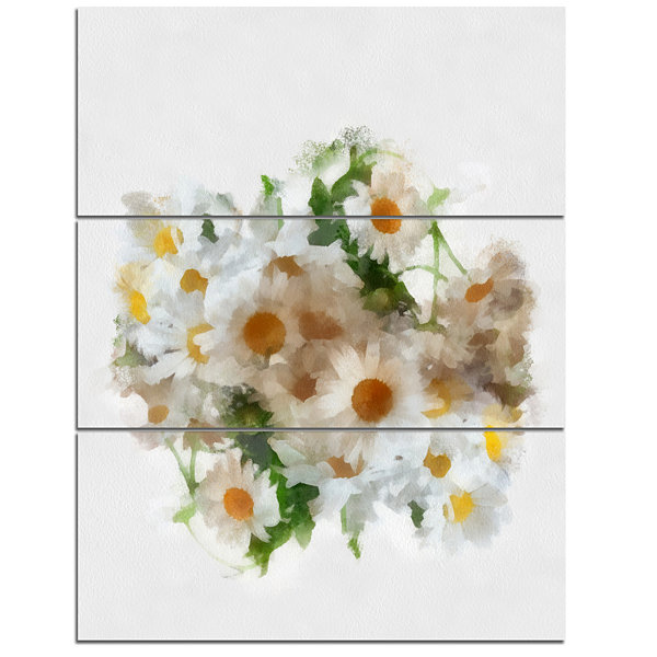 Designart Bunch Of White Chamomiles Watercolor Flower Artwork On Canvas - 3 Panels