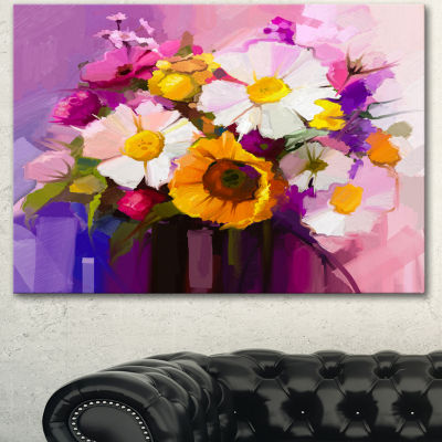 Designart Bunch Of White Red Yellow Flowers LargeFloral Canvas Art Print - 3 Panels
