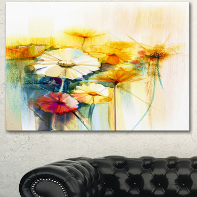 Designart Bunch Of White Yellow Flowers Large Floral Canvas Art Print - 3 Panels