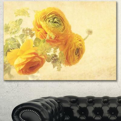 Designart Bunch Of Yellow Ranunculus Flowers Floral Canvas Art Print