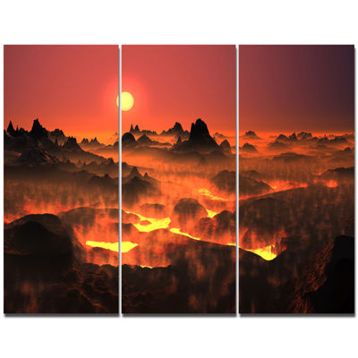 Designart Burning Volcano Country Landscape CanvasArt Print - 3 Panels