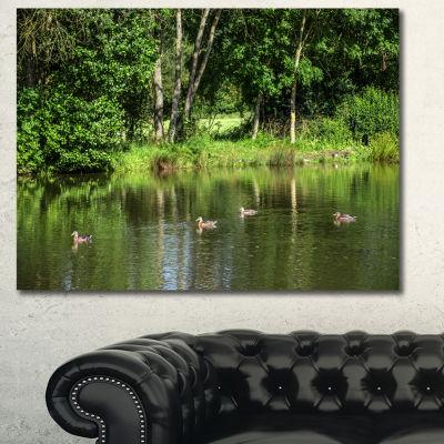 Designart Bushes And Trees In River Bank LandscapeCanvas Art Print - 3 Panels