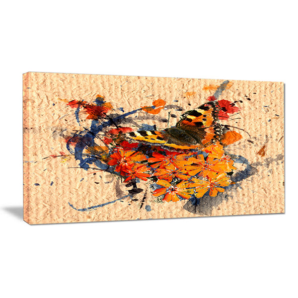 Designart Butterfly And Abstract Art On Paper Floral Art Canvas Print