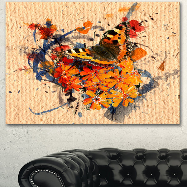 Design Art Butterfly And Abstract Art On Paper Floral Art Canvas Print - 3 Panels