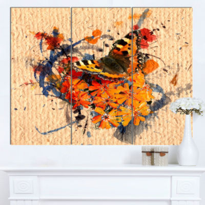 Designart Butterfly And Abstract Art On Paper Floral Art Canvas Print - 3 Panels