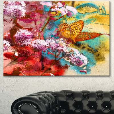 Designart Butterfly And Abstract Design WatercolorFloral Art Canvas Print