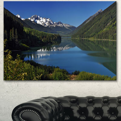 Designart Calm Clear Lake With Mountains Extra Large Landscape Canvas Art Print