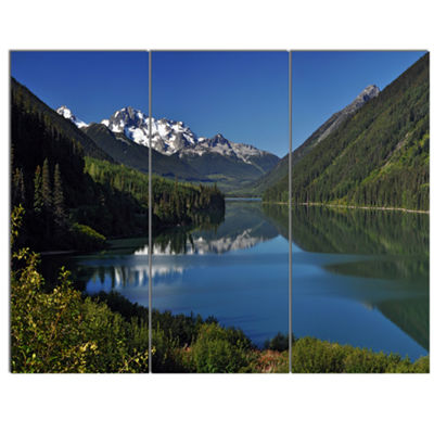 Designart Calm Clear Lake With Mountains Extra Large Landscape Canvas Art Print - 3 Panels