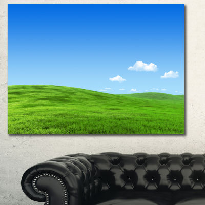 Designart Calm Green Meadow Landscape Canvas Art Print