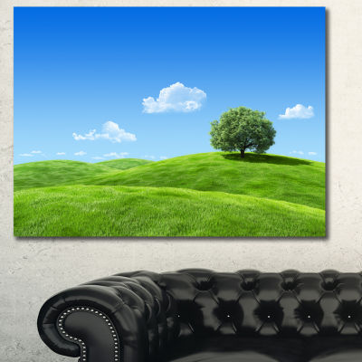 Designart Calm Meadow With Single Tree LandscapeCanvas Art Print - 3 Panels