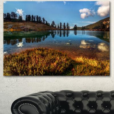 Designart Calm Mountain Lake And Clear Sky Landscape Canvas Art Print