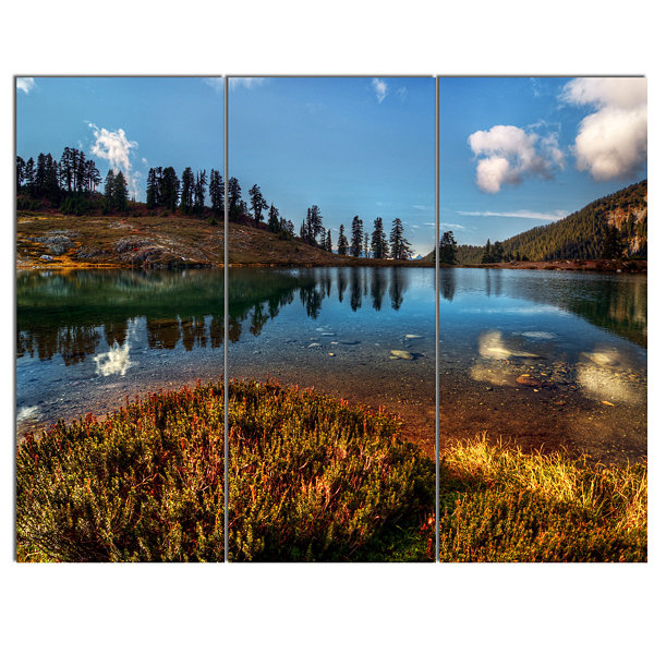 Design Art Calm Mountain Lake And Clear Sky Landscape Canvas Art Print - 3 Panels