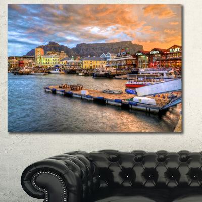 Designart Cape Town Waterfront At Sunset Modern Landscape Canvas Art - 3 Panels